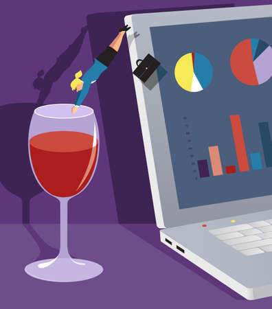 Business woman diving from a laptop into a glass of wine, EPS 8 vector illustration 矢量图像