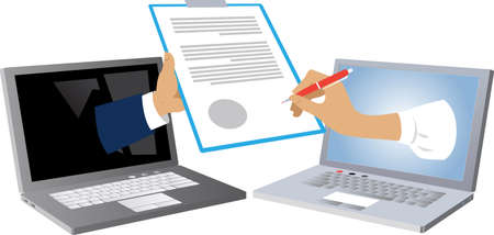 Woman hand coming out of a laptop screen and signing a document that is presented from another computer as a metaphor for electronic signature, EPS 8 vector illustration