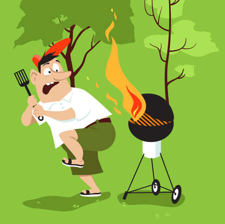 Barbequing man ignoring fire safety and scared of flames, EPS 8 vector illustration
