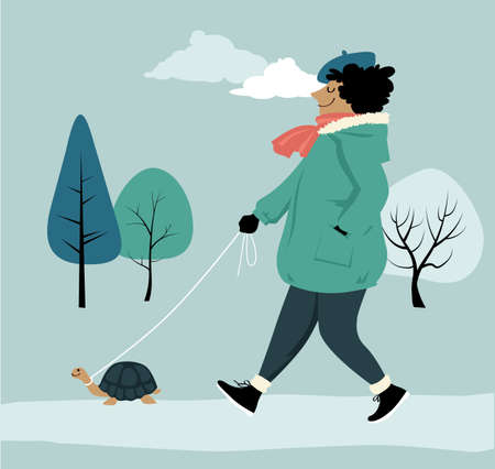Woman walking a pet turtle in a park as a metaphor for a slow living lifestyle, EPS 8 vector illustration
