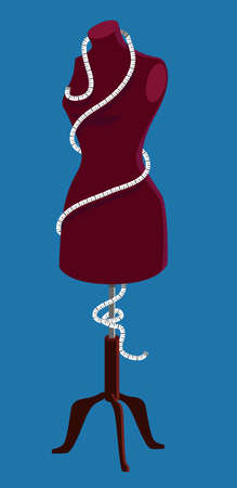 Dressmaker's mannequin with a measuring tape wrapped around it,  EPS 8 vector illustration