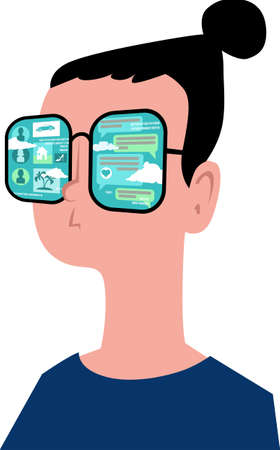 Young person in glasses covered with social networking computer screens, EPS 8 vector illustration