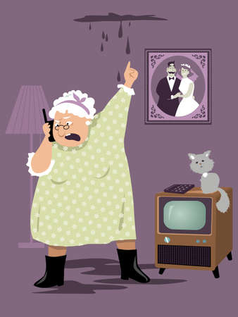 Elderly woman calling emergency service or a super about a water leak from her ceiling,  EPS 8 vector illustration
