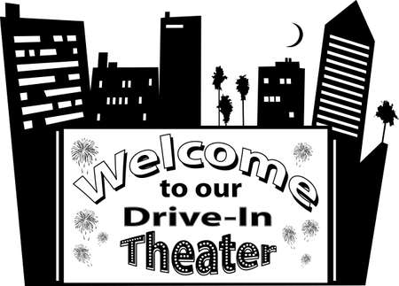 Vector illustration for a drive-in movie theater signboard with a cityscape, no white objects, black silhouette, EPS 8