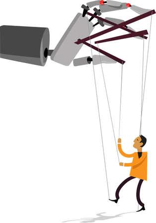 Giant robot hand manipulating a hand puppet man,  EPS 8 vector illustration