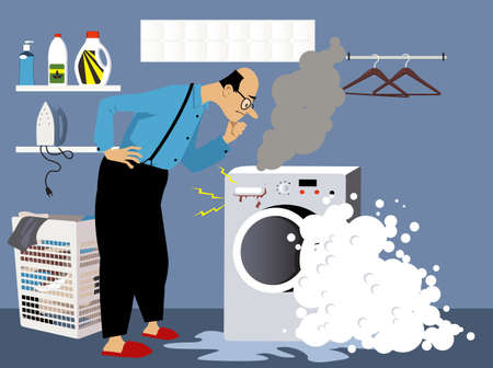 Perplexed man looking at a broken washing machine, smoke and foam come out of it, EPS 8 vector illustration 矢量图像