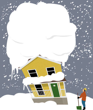 House tilting under a heavyweight of snow on the roof and owner looking at it with a snow shovel 矢量图像