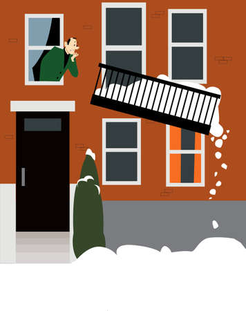 Concerned man looking at his balcony giving up under a weight of accumulated snow,  EPS 8 vector illustration 矢量图像