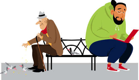 Man working on a laptop on a park bench outside while an elderly man feeding pigeon next to him