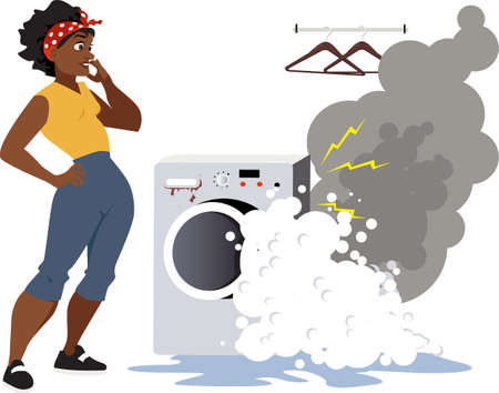 Upset woman looking at a broken washing machine, smoke and foam come out of it 矢量图像