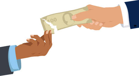 Black and Caucasian men tearing apart a money bill, and black man gets the smaller part as a metaphor for racial pay gap 矢量图像