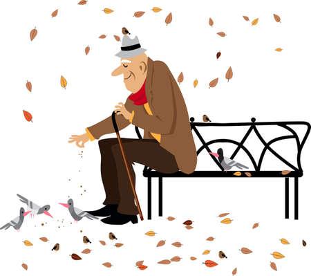 Elderly man feeding pigeons sitting on a park bench in fall, EPS 8 vector illustration