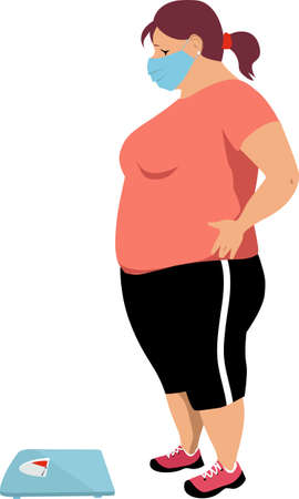 Overweight woman in a face mask looking at the bathroom scales, worried about her quarantine weight gain, EPS 8 vector illustration