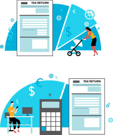 Conceptual illustration on filing tax return for different categories of people, EPS 8 vector illustration