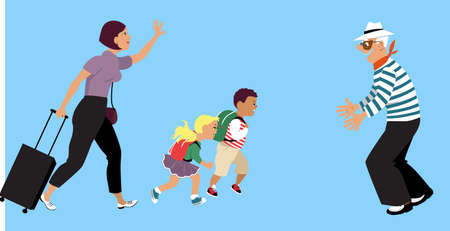 Mother bringing her children to visit their grandfather after a lockdown,   vector illustration
