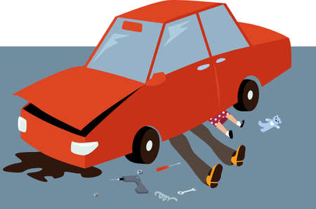 Man and his little daughter fixing a car together, EPS 8 vector illustration