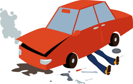 Mechanic lying under a damaged car, fixing it after an accident, smoke coming under a hood, EPS 8 vector illustration