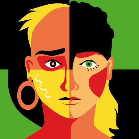 Modern colorful illustration of a human face divided into quarters representing different racial and gender group as a metaphor for diversity, EPS 8 vector illustration 矢量图像