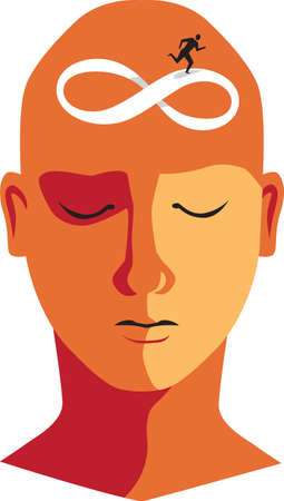 Human  head with a symbol of infinity or Mobius strip as a metaphor for intrusive thoughts and obsessive thinking, EPS 8 vector illustration 矢量图像