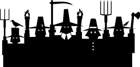 Black silhouette of an angry mob, group of pilgrims with pitchforks and torches, EPS 8 vector illustration
