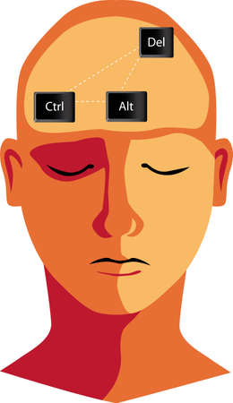 Human head with Control-Alt-Delete command as a metaphor for rebooting brain, EPS 8 vector illustration