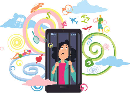 Young woman affected by FOMO trapped inside a smartphone, symbols of exciting opportunities presented by social networking projected around her, EPS 8 vector illustration