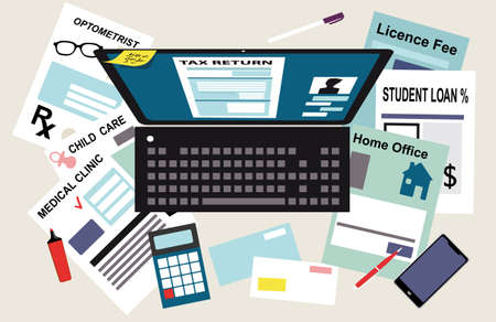 Laptop with a tax return form on a screen surrounded by documents supporting various tax deductions, EPS 8 vector illustration
