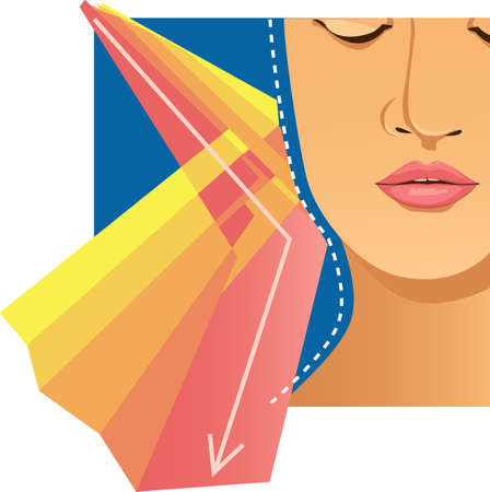 Sun rays reflected from a protective SPF barrier on a female face, EPS 8 vector illustration 矢量图像