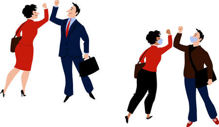 Business people, some of them wearing masks, greeting each other with elbow bump, avoiding handshake after  pandemic, EPS 8 vector illustration 矢量图像