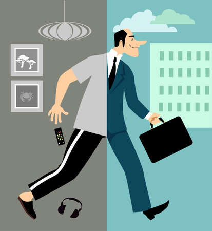 Man returning to work in the office after lockdown and working remotely from home, EPS 8 vector illustration