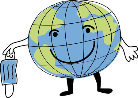 Cartoon Earth taking off a face mask as a metaphor for an end of global pandemic, EPS 8 vector illustration