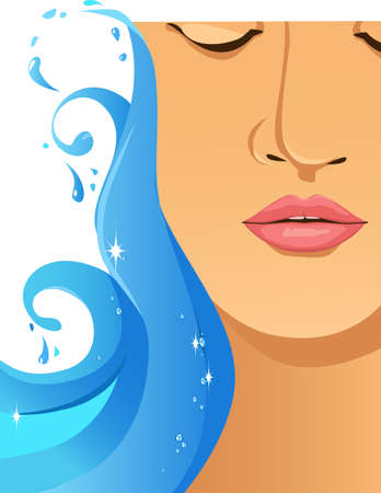 Wave of sparkling blue water touches woman's face, hydrating her skin, EPS 8 vector illustration, no transparencies