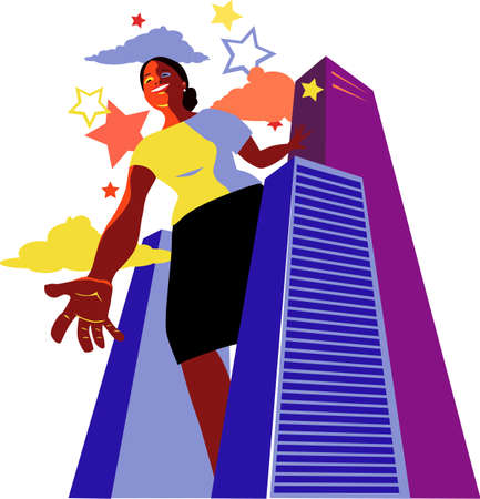 Smiling black woman standing above skyscrapers and giving a hand to reach for the stars, EPS 8 vector illustration