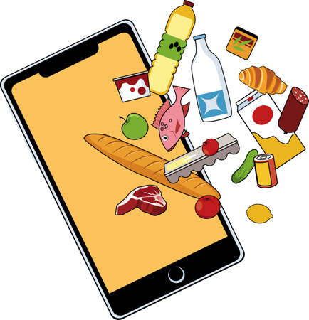 Generic smartphone with food items flowing into it as a metaphor for online grocery shopping, EPS 8 vector illustration