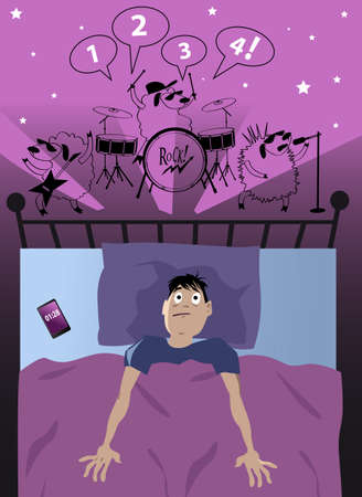 Young man lying in bad sleepless late at night suffer from insomnia, sheep in his head playing rock and roll, EPS 8 vector illustration