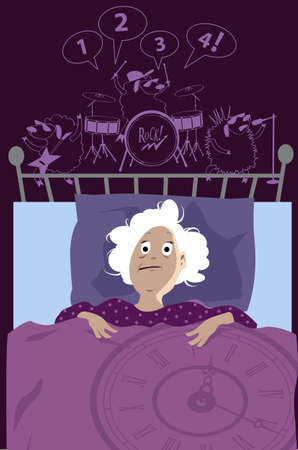 Senior woman lying in bad sleepless late at night suffer from insomnia, sheep in her head playing rock and roll, EPS 8 vector illustration