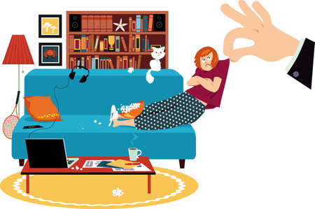 Giant hand pulling a reluctant woman off the couch where she was working from home, EPS 8 vector illustration