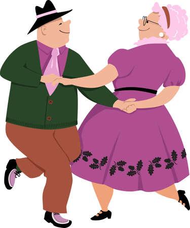 Senior couple dancing polka, EPS 8 vector illustration, isolated on white