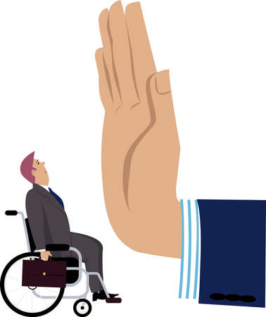 Giant management's hand stops a handicap employee on his way, EPS 8 vector illustration