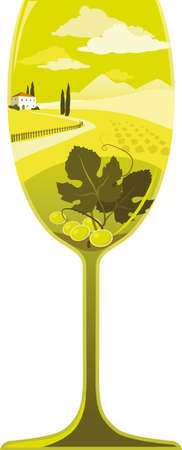 Silhouette of a wine glass filled with a Italian wine region landscape with a winery and some grape leaves and grapes, EPS 8 vector illustration, no transparencies