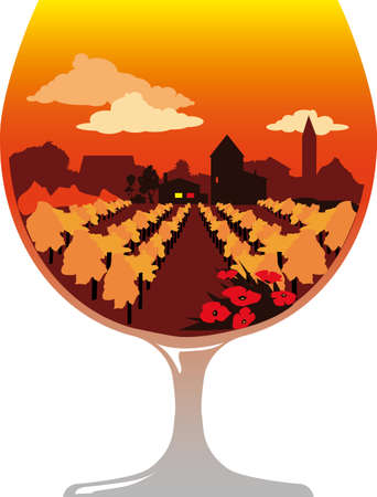 Silhouette of a brandy glass filled with a wine region landscape and a winery or distillery, EPS 8 vector illustration, no transparencies Vecteurs
