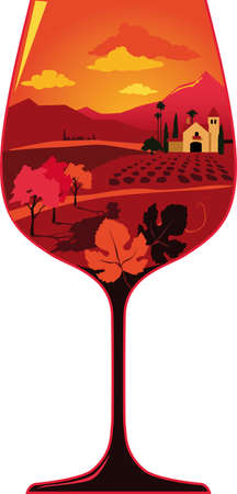 Silhouette of a wine glass filled with a wine region landscape with a generic Hispanic architecture winery and some grape leaves, EPS 8 vector illustration, no transparencies