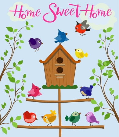 birdhouse: Cartoon set of different colorful birds near birdhouse isolated on blue background in flat style. Illustration