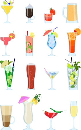 colada: Detailed illustration alcohol coctails and other drinks isolated in a flat style on white background. Illustration