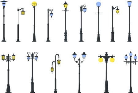 Detailed illustration colored street lamps isolated in flat style on white background. 免版税图像 - 56448392