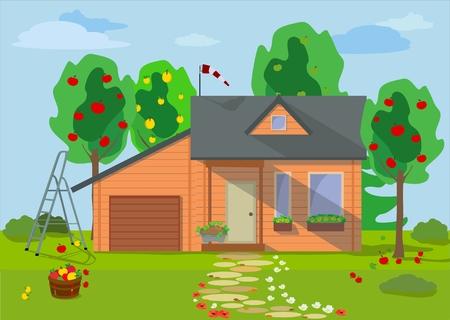 Landelijk landschap met houten ecohuis met fruitbomen, bloemen, blauwe hemel en tuinvoorwerpen in vlakke stijl.