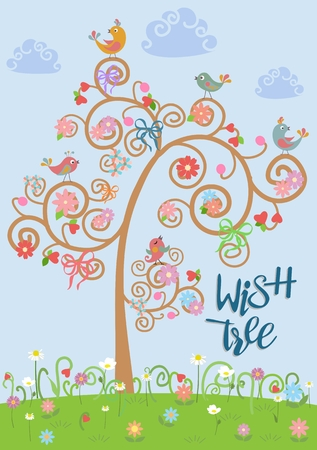 Detailed illustrations of birds in a flat style on a blue background on wish tree decorated with ribbons, flowers and hearts. Cute birds vector.