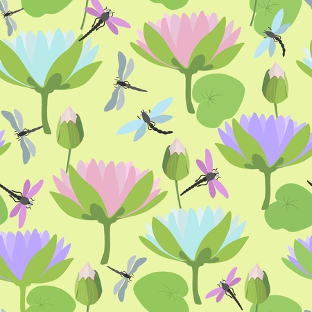 Seamless background with dragonflies and lotus flowers. Vector illustration. Illustration