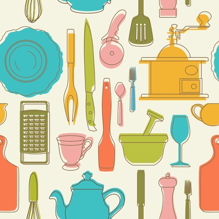 milkman: Seamless pattern with color kitchen utensils. Vector illustration.