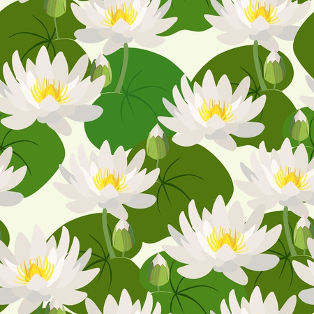 Seamless pattern with lotus flowers and leaves. Vector illustration.